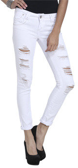Wet Seal WetSeal Mini Roll Cuff Destroyed Jean White
