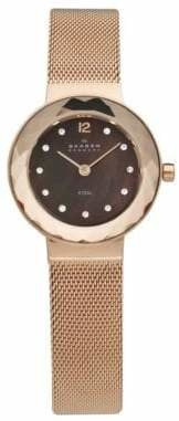 Skagen Rose Gold Mesh Bracelet With Faceted Crystal And Brown Dial Watch