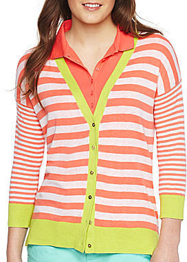 JCPenney jcp Cotton-Linen Blend Striped Cardigan