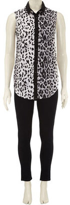 Dorothy Perkins Grey leopard sleeveless shirt