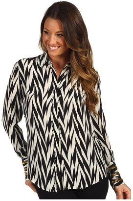 Winter Kate Silk Crepe Long Sleeve Button Up