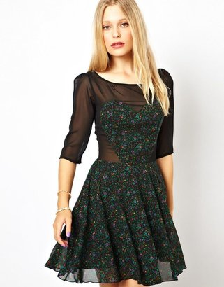 Love Floral Dress with Sheer Sleeves
