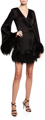 Bronx and Banco Long-Sleeve Feather Trim Satin Robe Dress