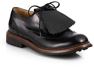 Salvatore Ferragamo Rueda Leather Lace-Up Oxfords
