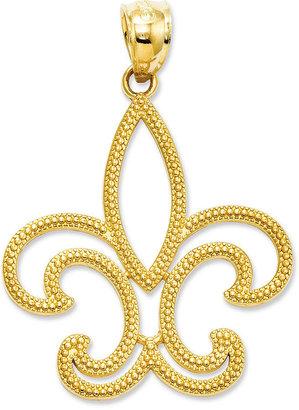 14k Gold Charm, Patterned Fleur De Lis Charm