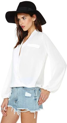 Nasty Gal Chandler Wrap Blouse - White