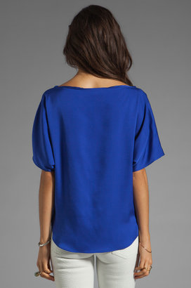 Milly Matte Stretch Silk Dolman Top