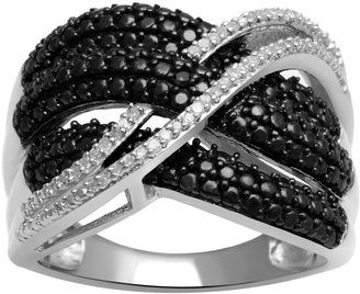 JCPenney FINE JEWELRY 1/10 CT. T.W. White Diamond & Color-Enhanced Black Diamond-Accent Woven Ring