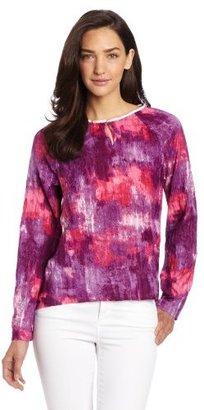 Calvin Klein Jeans Women's 3/4 Sheer Sleeve Woven Top