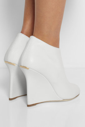 Burberry Textured-leather wedge boots