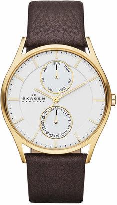 Skagen Men's Dark Brown Leather Strap Watch 40mm SKW6066 $165 thestylecure.com