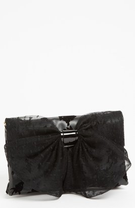 RED Valentino 'Dot Bow' Flocked Clutch