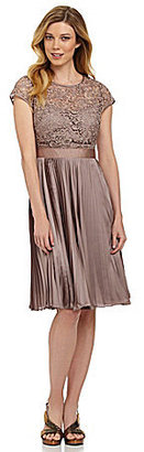 Adrianna Papell Lace Pleated Dress