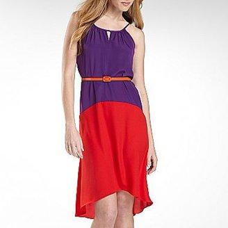 J Taylor Hi-Low Hem Colorblock Dress with Belt