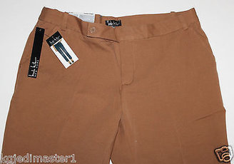 """Nicole Miller NWT Women's 6 8 10 14 16 Caramel Brown Cotton Ankle Pants 28"""" Ins"""