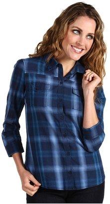 Calvin Klein Jeans Petite - Petite Button Down Shirt w/ Back Tie (Eclipse) - Apparel