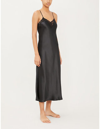 Morgan Nk Imode stretch-lace and silk-satin gown