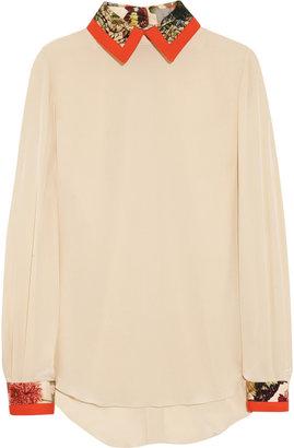 Preen Strawberry cotton-trimmed silk crepe de chine blouse