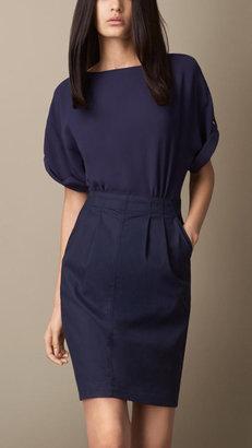 Burberry Contrast Skirt Cross-Back Dress