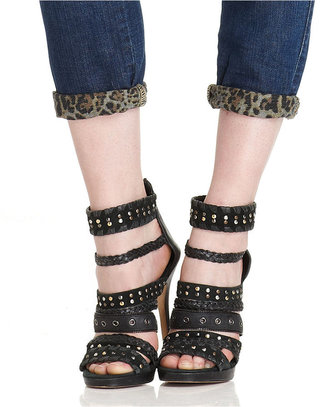 GUESS Jeans, Cropped Straight-Leg Leopard-Print Dark-Wash