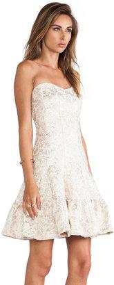 Anna Sui Metallic Daisy Jacquard Strapless Dress