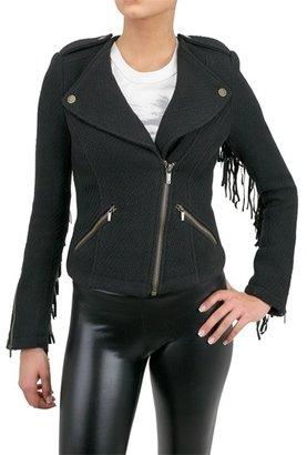 William Rast Leather Fringed Wool Jacket