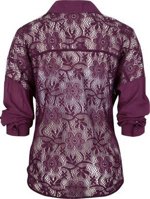 Full Tilt Lace Back Womens Tie Front Top