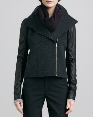 Vince Moto-Inspired Jacket with Leather Sleeves