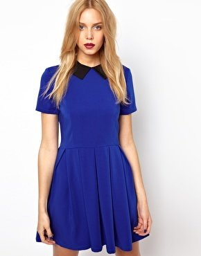 Lavish Alice Structured Skater Dress With Contrast Collar - Blue