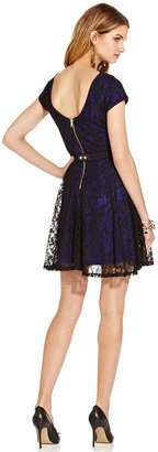Chord Juniors' Cap Sleeve Lace Belted Dress