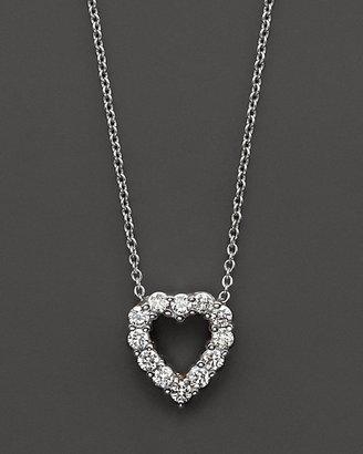 Roberto Coin Medium Diamond Heart Pendant in 18 Kt. White Gold