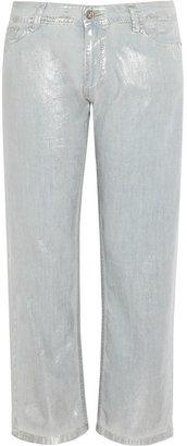 Faith Connexion Metallic coated cotton-chambray jeans