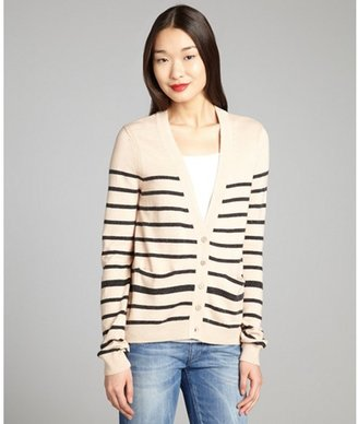 Yoon eggshell and granite striped wool-blend cardigan