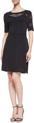 Ali Ro Fit-and-Flare Scoop-Neck Knit Dress