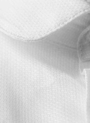 Topman White Textured Curve Collar Long Sleeve Smart Shirt