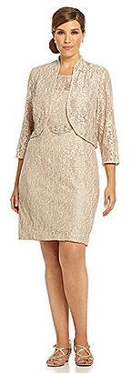 Jessica Howard Woman Lace Bolero Jacket Dress