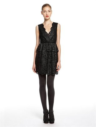 DKNY Metallic Floral Lace Sleeveless V-Neck Dress With Peplum And Scalloped Edges