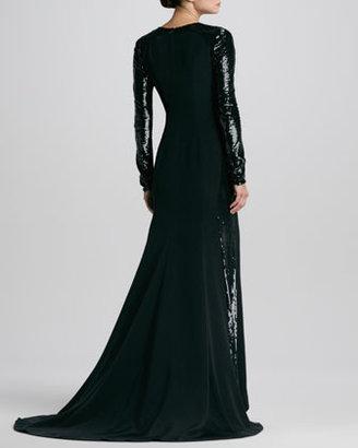 Carolina Herrera Sequined-Sleeve Silk Gown