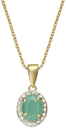 Townsend Victoria 18k Gold over Sterling Silver Necklace, Emerald (1 ct. t.w.) and Diamond Accent Oval Pendant