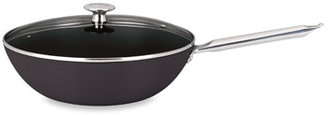 "Mario Batali Mario Light"" 12-Inch Enameled Cast Iron Covered Stir Fry Pan - Black"