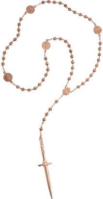 Pamela Love Rose Gold Rosebud & Dagger Rosary Necklace