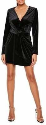 Missguided Velvet Wrap Sheath Dress