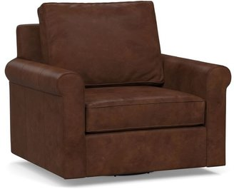 Pottery Barn Cameron Roll Arm Leather Swivel Armchair
