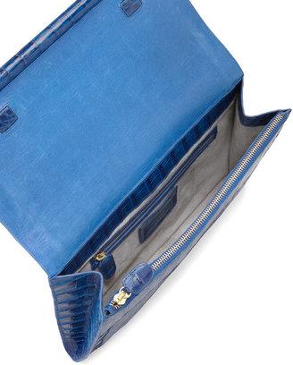 Nancy Gonzalez Front-Flap Crocodile Bar Clutch Bag
