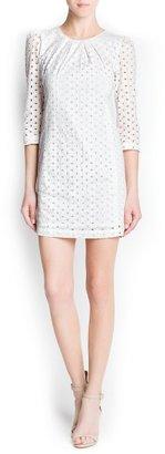 MANGO Swiss embroidery cotton dress