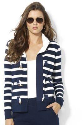 Lauren Ralph Lauren Petite Striped Cotton Toggle Cardigan