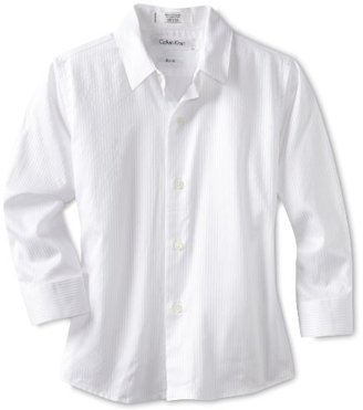 Calvin Klein Dress Up Boys 2-7 Long Sleeve Tonal Stripe Woven Shirt