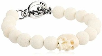 "King Baby 10 mm White Coral Bead White Skull and Silver Clasp Bracelet, 8.75"" $280 thestylecure.com"