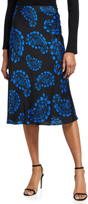 Milly Fion Tossed Paisley Bias Skirt
