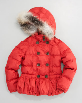 Burberry Fox-Trim Puffer Jacket, Sizes 7-10